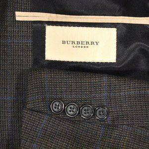 44R Burberry London Tweedy Windowpane Sport Coat